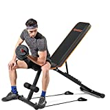 Weight Bench, Apoesar Gym Bench, Adjustable Bench, Foldable Fitness Bench with Exercise Bands, Lightweight Fitness Weight Bench-New Version