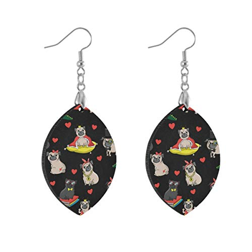 Earring for Women Leaf Pug Dog Black Fashion Earrings Girls for Valentine's Day Double Layered Lightweight