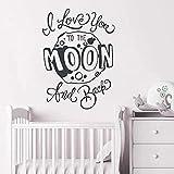 Pegatina de pared con cita para guardería, con texto en inglés 'I Love You to The Moon and Back Cite' (57 x 79 cm)