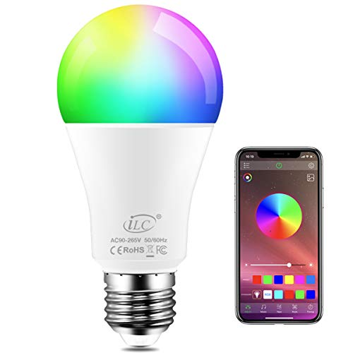 iLC Bombillas Colores LED 8W, E27 RGBW controlada por APP, sincronizada con la música, multicolor Cambio de Color Regulable (equivalente 60W)