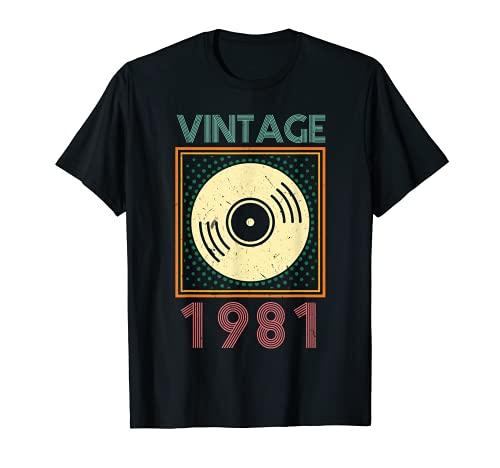Vintage Nées En 1981 Cadeau Anniversaire 40 Ans Vinyl T-Shirt