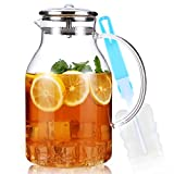 68 Ounces Glass Pitcher, Eternal Moment Water Pitcher with Lid and Spout, Heat Resistant Borosilicate Glass Jug for Iced Tea, Milk, Sangria, Lemonade, Homemade Juice