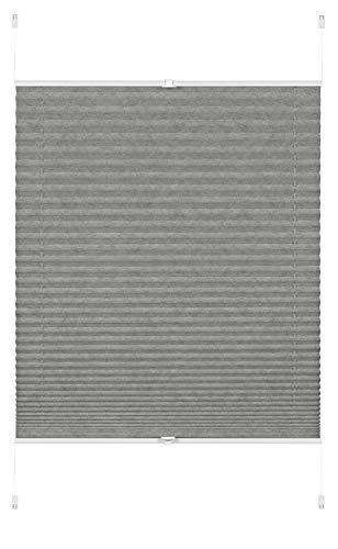 GARDINIA EASYFIX Plissee Lilly Green zum Klemmen, Blickdichtes Faltrollo, Montage-Teile inklusive, 100% Recycling Stoff, Grau, 80 x 130 cm (BxH)