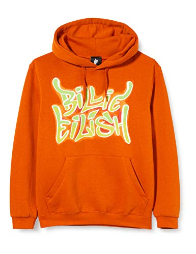 BILLIE EILISH Pullover Hoodie: Airbrush Flames Blohsh (Back Print) Felpa con Cappuccio, Arancia, XX-Small Unisex-Adulto