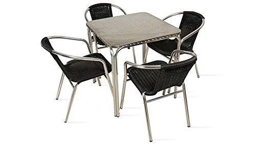 Oviala Table de Jardin carrée en Aluminium et 4 chaises