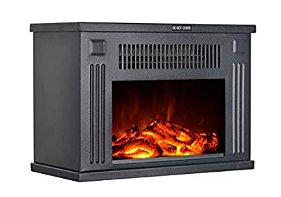 GMHome 14 Inches Mini Electric Fireplace Tabletop Space Heater Freestanding Fireplace Log Fuel Effect, 1200 W, Metal – Black