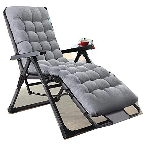 Sillas de playa, silla de ocio al aire libre, cómoda silla de relajación plegable, silla de descanso, sillón reclinable de 150 kg, con cojinetes, gris y almohadilla de algodón perlado