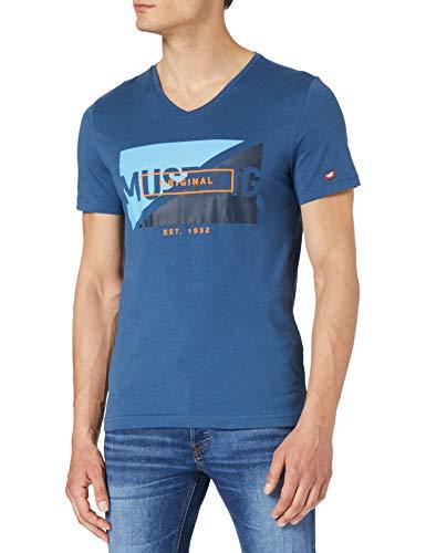 MUSTANG Herren Aaron V Print T-Shirt, dunkelblau, M