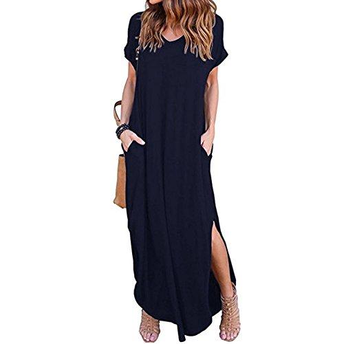 Maxi Dresses for Women Casual Summer Gibobby Women's Plaid Long Sleeve Empire Waist Full Length Maxi Dress with Pockets Dark Blue