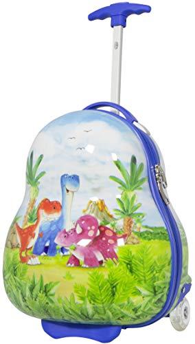 Trendyshop365 Kinder-Koffer Hartschale Dino-Saurier 41 Zentimeter 16 Liter 2 LED-Räder Handgepäck