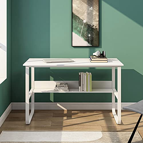 Moiitee Escritorio de computadora con estante de almacenamiento, mesa de oficina en forma de U marco de metal, estación de trabajo para espacios pequeños, oficina en casa,120 x 60 x 73 cm