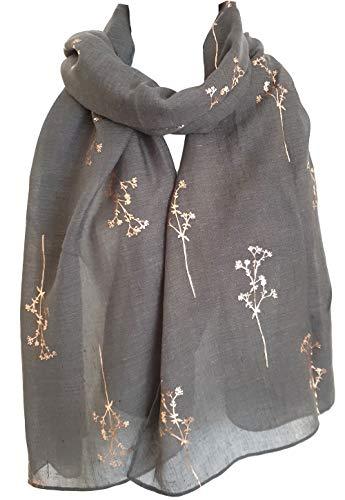 GlamLondon - Sciarpa estiva con rami brillanti Grey