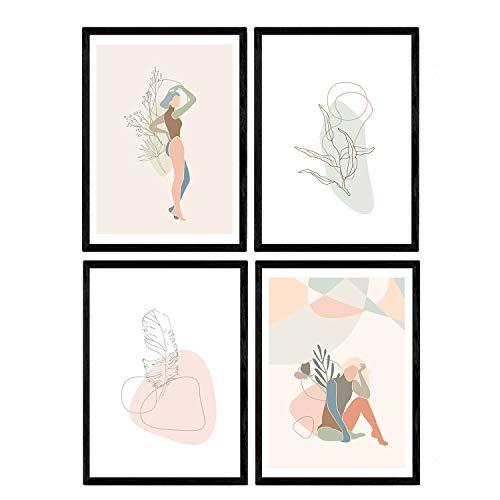 Oferta de Nacnic Posters de Figuras Femeninas Tonos Pastel y Formas nordicas. Mujeres posando. Boceto ilustracion Mujer. Láminas en tamaño A4