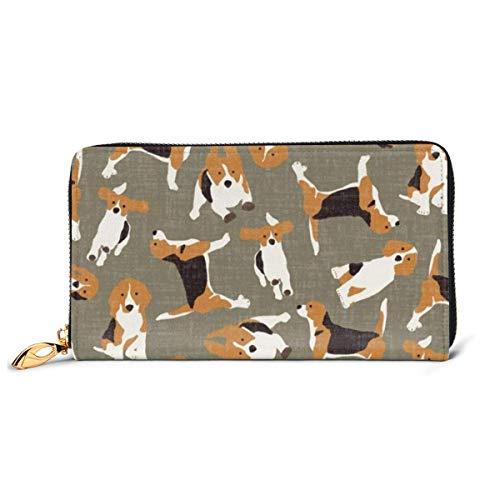Womens Beagle Scatter Stone lederen portemonnee RFID blokkeren Zip rond portemonnee echt lederen clutch portemonnee kaarthouder Travel portemonnee polsband