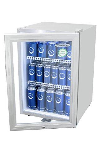 Mini-Kühlschrank in Silber (62 l) | Kleiner Getränke-Kühlschrank mit Glas-Tür & LED-Beleuchtung 64 x 43 x 48 cm | Getränkekühlschrank, Flaschenkühlschrank freistehend | Großer Stauraum für Getränke
