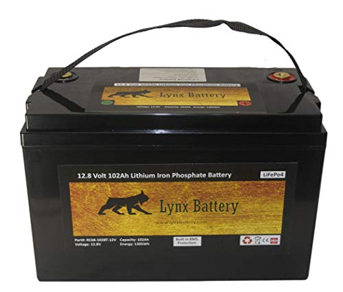 Lynx Battery 12V 100Ah Lithium Iron Phosphate (LiFePO4) Sealed Battery, 5,000+ Cycles with Built-In-BMS for RV, Marine, Golf Cart, Solar and Off-Grid Applications