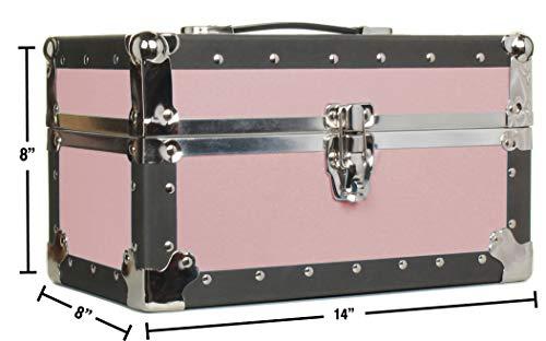 Gilbin Summer Camp and College Dorm Mini Storage Trunk Organizer Keepsake Box Treasure Chest Footlocker Size 14' L x 8' H x 8' W (Pink)