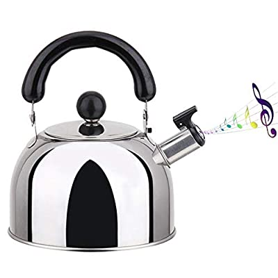 hdee Stove Top Whistling Tea Kettle, Stainless Steel Tea Pot with Ergonomic Handle, 2L/3L/4L Classic Large Teapot, for All Heat Sources Whistle Type Brushed Tea Kettle