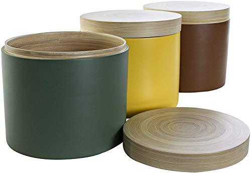 Set mit 3 großen Blumentöpfen aus Bambus, mehrfarbig, für Aufbewahrung, 18 x 18 x 16 cm, 2600 ml / Glas