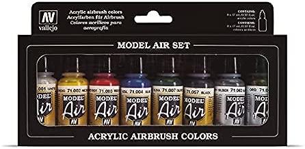 Vallejo Metallic Colors Model Air Paint, 8 bottles X 17ml