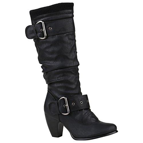 Klassische Damen Stiefel Leder-Optik Block Absatz Basic Schuhe 150287 Schwarz Schnallen 41 Flandell