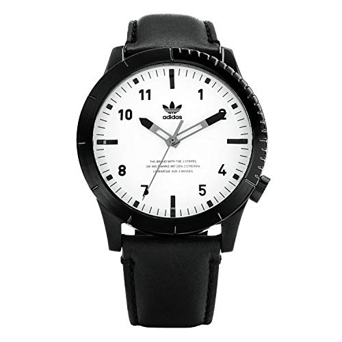 adidas Relojes Hombre Cypher_Lx1. Correa Horween Reloj De Cuero, 22 Mm Anchura (0,42 Mm) Negro/Blanco