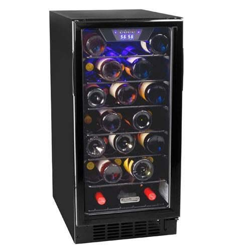 Koldfront 30 Bottle Built-In Single Zone Wine Cooler - Black