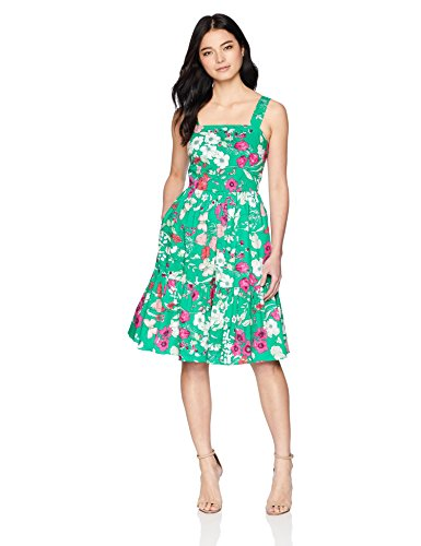 Eliza J Women's Floral Sleeveless Fit and Flare Dress, Green, 16 Petite