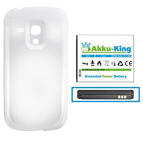 Akku-King Power-Akku kompatibel mit Samsung EB-F1M7FLU - Li-Ion 3000 mAh - Akkudeckel weiß - für Galaxy S3 Mini, S III Mini, GT-I8190, i8190n, GT-I8200N