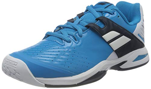 Babolat Junior Propulse All Court Tennis Shoes, White/Blue Aster (US Kids Size 2.5)