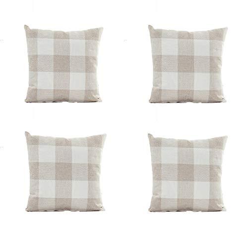 PSDWETS - Juego de 4 Fundas de cojín de algodón y poliéster con diseño de Cuadros de búfalo para decoración del hogar de Granja, Color Gris y Blanco, 45,7 x 45,7 cm