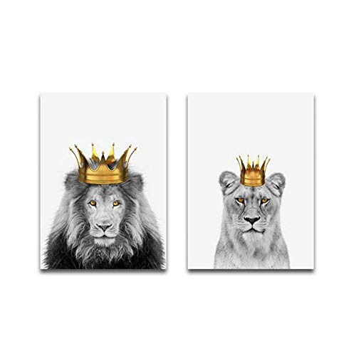 WENJING Wall Art Golden Crown Poster Lion King Canvas Painting Animals Wall Art Print Modern Picture for Living Room On The Wall Home Decor-40X60Cmx2 Pcs No Frame