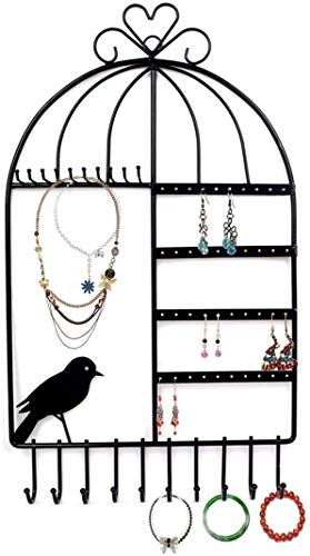 QINGQING Creatividad Diseño de Jaula de pájaros Montaje en Pared Colgador de Joyas Colgante Pendiente Collar Exhibición de Joyas Organizador Estante de Soporte,Soporte de joyería montado en la Pared