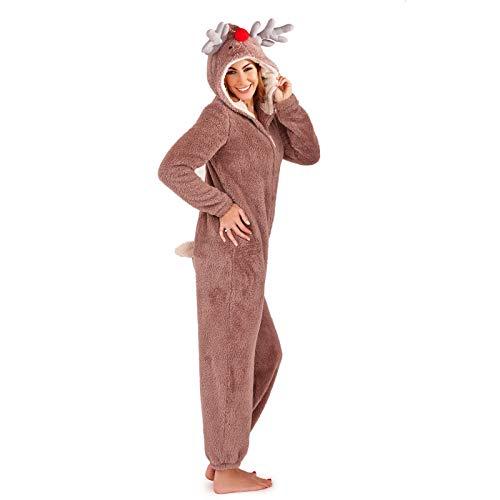 Damen Einteiler mit Tiermotiven, weiches Fleece, Loungewear, Schlafanzug Gr. Large 44-46, Braun/Taupe Rentier