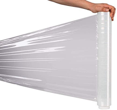 RAGO Stretchfolie Transparent folie für möbel Hand Stretchfolie rollen I Palettenfolie Handfolie Wickelfolie I Verpackungsmaterial (7,5 x 7,5 x 40 cm) 0,9 kg I 180m Länge
