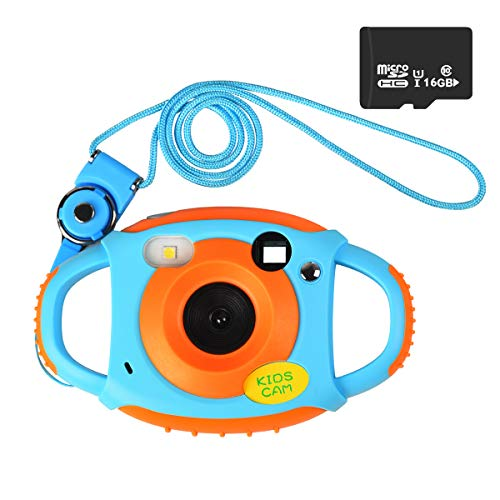 Funkprofi Digitalkamera für Kinder, 5 Megapixel Mini Kinderkamera mit 1,77 Zoll Display Kids Camcorder Geschenk und Spielzeug für Kinder - Orange mit 16GB TF Karte