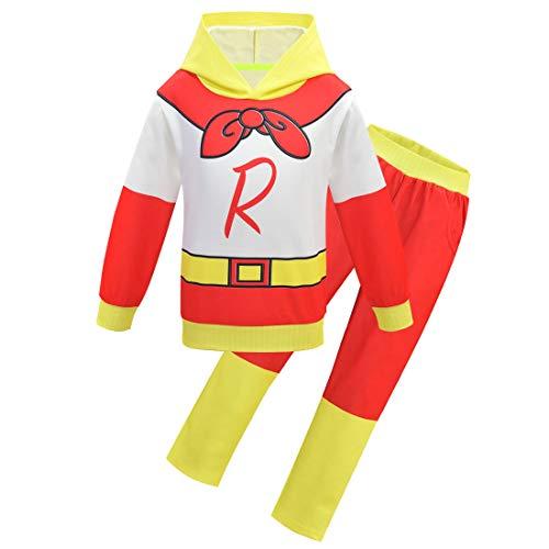 Ryans World Jungen Trainingsanzug, Hose und Oberteil, Superman-Stil, langärmelig Gr. 110 cm (3-4 Jahre), weiß