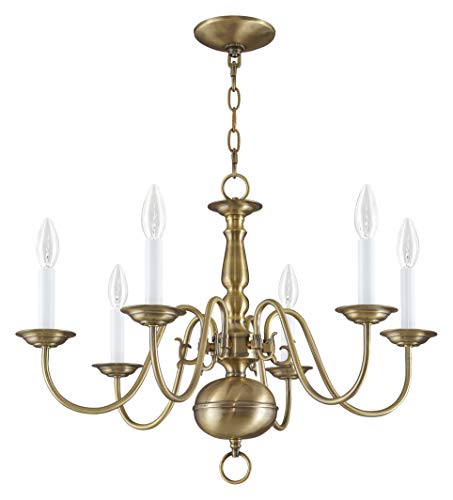 Livex Lighting 5006-01 Williamsburg 6 Light Antique Brass Chandelier