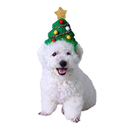 PEDOMUS Katze Kostüm Weihnachtsbaum Kopf Hoop Katze Hund Kopfbedeckung Weihnachtskostüm für Katze und Kleiner Hund (S)