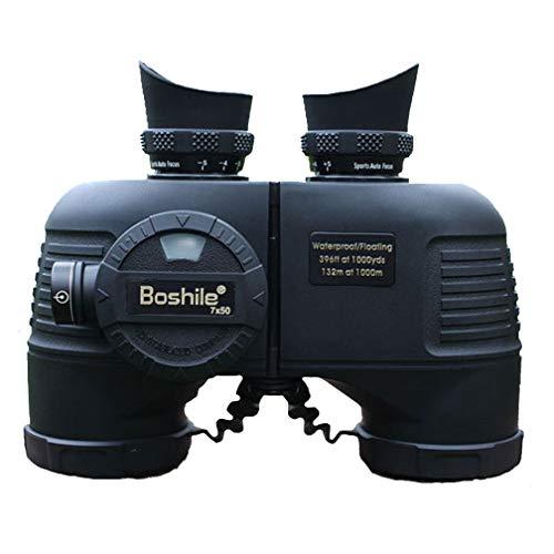 Boshile 7x50 Prismaticos Profesionales con telémetro para Adultos, visión Nocturna compacta Binoculares a Prueba de Agua, para observación de Aves, Viajes,Náutica,Black