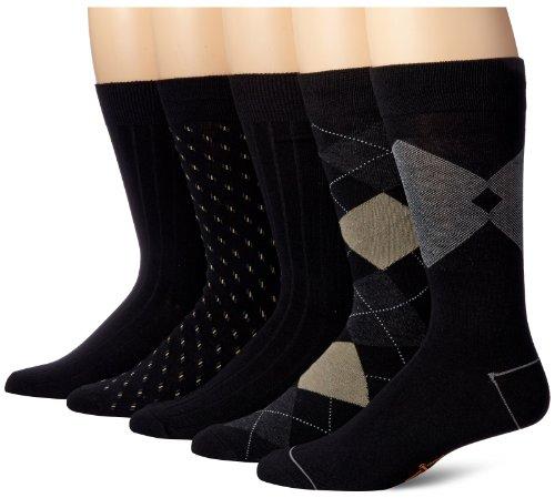 Dockers Men's 5-Pack Classic Argyle Asst. Pattern Dress Crew, Black, Shoe Size: 6-12 (Sock Size: 10-13)
