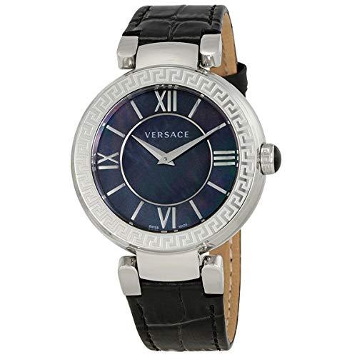 Versace Damen Analog Quarz Uhr mit Leder Armband VNC180017