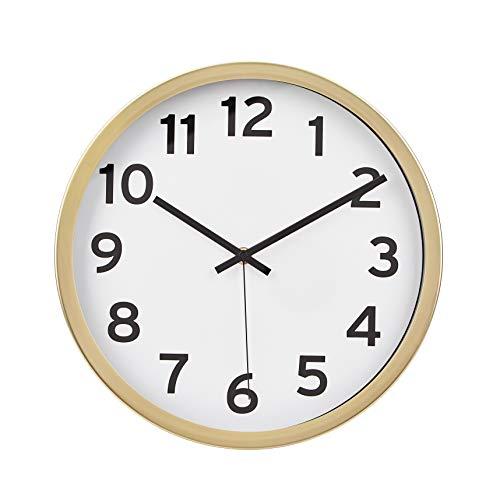 Amazon Basics - Reloj de pared con números, 30,5 cm, latón