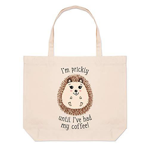 I'm Prickly Until I've Had My Coffee Hedgehog Large Beach Tote Bag
