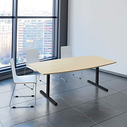 Weber Büroleben GmbH Easy Konferenztisch Bootsform 200x100 cm Ahorn Besprechungstisch Tisch, Gestellfarbe:Anthrazit