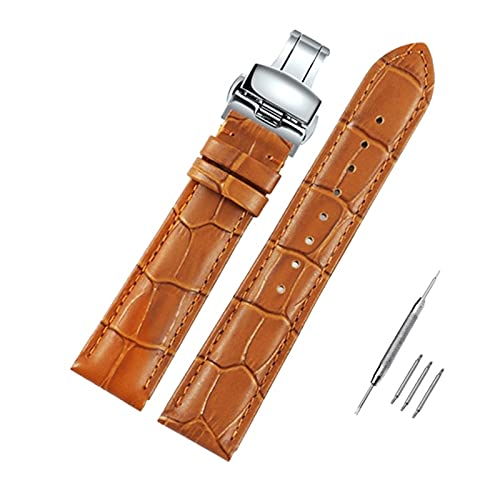 21mm/22mm hombres del cuero genuino reloj de pulsera correa de reemplazo Pin de cierre correa de reloj de cuarzo analógica, 20mm Oro de cierre