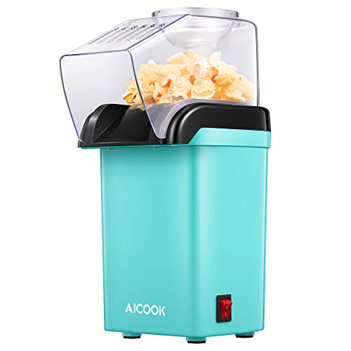 Hot Air Popcorn Maker, AICOOK 1200W Fast Home Popcorn Popper with Measuring Cup and Removable Top Cover, Easy To Clean & Healthy Oil-Free, Perfect for Movie nights, BPA-Free&ETL Certified, Green