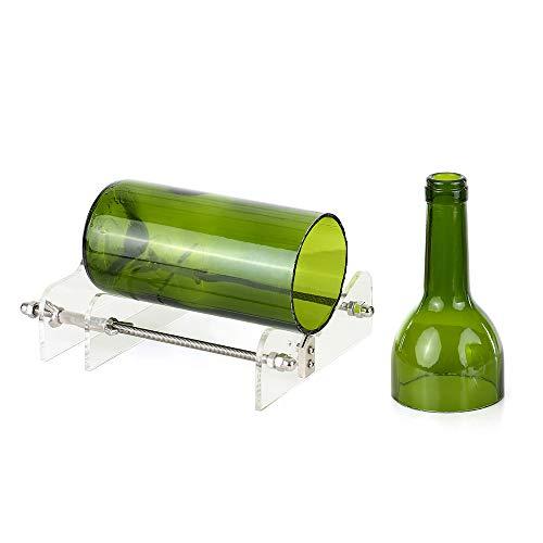 Blusea Weinflasche Cutter,Glas Flaschenschneider Acryl DIY Flasche Schneidwerkzeug mit Sandpapier für Wein Bierflaschen Mason Gläser