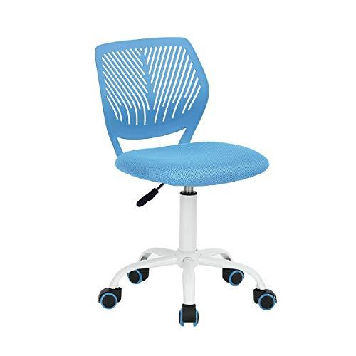 SWNN Gaming Chair Silla giratoria de Oficina Ajustable sin Brazos Silla Kids Study Media de la Espalda de tareas del Equipo sillas de Escritorio Azules (Color : Blue)