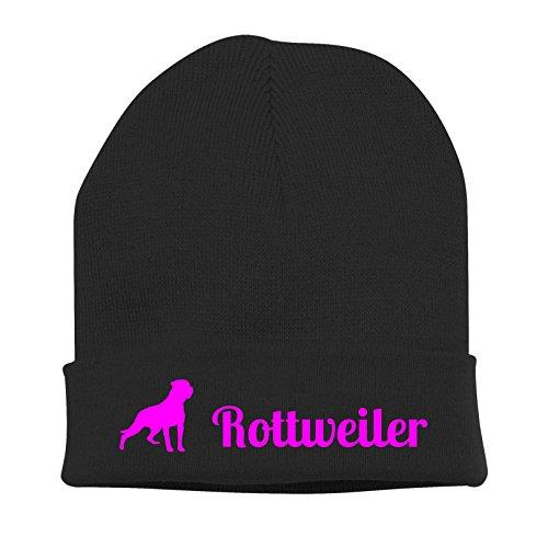 Siviwonder Strickmütze - Rottweiler Hund Hunde Motiv Hundesport Schutzhund - Stickerei Hund Winter Mütze Wintermütze Beanie Mütze schwarz-neonpink